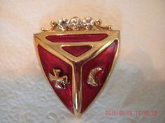 SHIELD BROOCH MOON Maltese Cross Rhinestones Red enamel by janjems