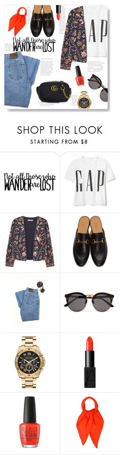 """Statement T-Shirt"" by doragal ❤ liked on Polyvore featuring MANGO, Gucci, Calvin Klein, Illesteva, Michael Kors, NARS Cosmetics, Hermès, Tshirt, statement and statementtshirt"