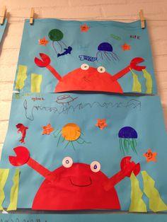 Zee, dieren, onder water, krab, knutselen, kleuters