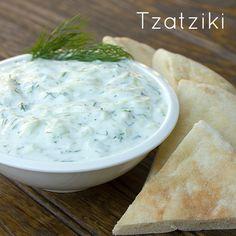 Greek Tzatziki = ◦2 cups plain yogurt   ◦½ english cucumber   ◦1 tbsp lemon juice   ◦1 garlic clove, minced   ◦2 tbsp fresh dill, finely chopped  serve with bread or pita
