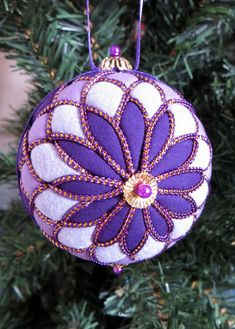 Kimekomi Ornament  Purple Chrysanthemum by OrnamentDesigns on Etsy