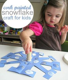 Cork painted snowflake craft for kids- also has a few other snowflake art ideas