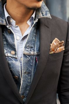 Layering with denim via TSB Men