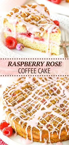 This Raspberry Rose Coffee Cake recipe is such an amazing flavor combination! The coffee cake is filled with a vanilla rose cream cheese filling and fresh raspberries, then topped with cinnamon streusel and a rose glaze! An unexpectedly awesome breakfast treat! Cupcakes, Cake Recipes, Dessert Recipes, Baking Recipes, Delicious Desserts, Sweet Desserts, Yummy Food, Top With Cinnamon, Cinnamon Rolls