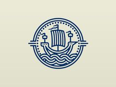Ship Logo Inspired by the way ships were once portrayed in heraldry design. Logo design ship badge wavesInspired by the way ships were once portrayed in heraldry design. Design Logo, Badge Design, Brand Identity Design, Icon Design, Branding Design, Design Design, Type Logo, 2 Logo, Badge Logo