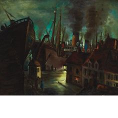 Frans Masereel - Le Port La Nuit, 1938, Oil on canvas