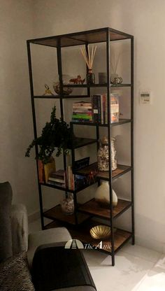 The staggered shelf in a wider format provides more storage space and coverage against your wall.  #furniture #industrialfurniture #wood #woodworking #steel #home #interiorstyling #interiordesign #dubai #abudhabi #uae #emirates #theatticdubai