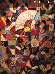 "Antique crazy quilt, ""Signs of the Times,"" circa 1880s"