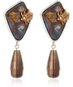 Stephen Dweck One of a Kind Silver Oak Boulder Opal Drop Earrings available only at Liberty London