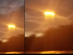 A strange sky phenomenon was captured above the Missouri River as a strange group of lights appeared in the sky and vertical rays fell from the setting sun.