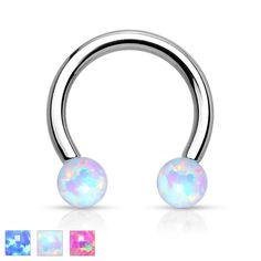 Synthetic Opal Horseshoe Circular Barbell Surgical Steel Internally Threaded Ring Great for Nipple Piercings, Septum Rings, and Cartilage Eyebrow Jewelry, Nose Piercing Jewelry, Eyebrow Ring, Lip Piercing, Ear Piercings, Septum Ring, Cartilage Jewelry, Piercing Ideas, Piercing Smiley