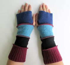 Recycled Sweater Fingerless Gloves Arm Warmers Berries n Black n Cobalt Blue Gypsy Gift Upcycled Clothing by ThankfulRose on Etsy