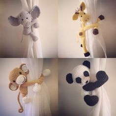 Curtain tie back, nursery, monkey, giraffe, panda, elephant, crochet, handmade by niceandcosee on Etsy https://www.etsy.com/listing/289071601/curtain-tie-back-nursery-monkey-giraffe
