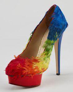 Charlotte Olympia Rainbow-Feathered Pump