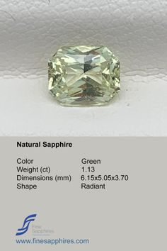 Green sapphire has gain lot of popularity during recent times and it is amongst one of the most requested stones. Color Green Origin Madagascar Weight 1.13Ct Dimensions 6.15x5.05x3.70mm Shape Radiant Enhancement None FS035 Sapphire Color, Green Sapphire, Natural Sapphire, Madagascar, Gain, Engagement Rings, Shape, Gemstones, Crystals