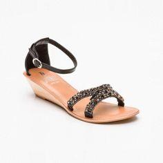Sandalias de cuña, cuero Negro y plateado Cuña: 4 cm