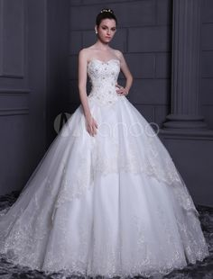 Ballroom tulle wedding gown
