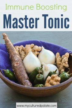 Cold & flu season or year round prevention - You don't need to look any further for a powerful immune boosting tonic that is budget friendly, easy to make and really works! Find the recipe and information about the ingredients at http://myculturedpalate.com/2014/12/05/master-tonic/