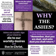 """Remember, that you are dust and unto dust, you shall return."" Why the ashes?…"