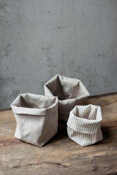 Striped natural linen bag zero waste storage linen bread