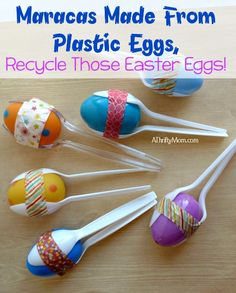 Maracas Made From Plastic Eggs, Recycle Those Easter Eggs! #Preschool