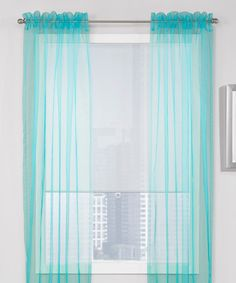 Another great find on #zulily! Teal Sheer Window Curtain - Set of Two #zulilyfinds