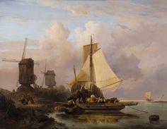 Het overzetveer | W. Nuijen. Nuyen was al vroeg in opspraak. 'Een jong en veelbelovend kunstenaar, die hoe langer hoe meer tot den verkeerden Romantischen smaak begint over te hellen' en 'liever een gemakkelijk effect zonder waarheid en natuurlijkheid' nastreefde. In 1833 was Nederland nog niet rijp voor Nuyens 'heftig' romantische werk.