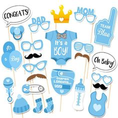 LeadingStar New Novelty Toys 25-Pieces Photo Booth Props for Baby Shower Baby Party with Diaper Glasses Boy And Girl Version