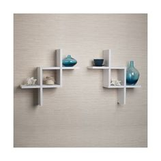 Danya B Set of 2 Reversed Criss Cross White Shelves - Einrichtungsideen Floating Wall Shelves, Wall Shelves Design, Corner Shelves, Display Shelves, Unique Wall Shelves, Decorative Shelves, Decorative Items, Room Shelves, Tv Shelf