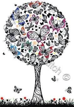 Butterfly tree cross stitch kit