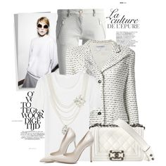 A fashion look from September 2014 featuring Oscar de la Renta tops, Chanel blazers and Pinko jeans. Browse and shop related looks.
