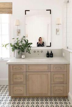 Studio McGee bathroom design —weathered wood vanity, fun tile floor Love the tile Decor, Interior Design, House Interior, Bathrooms Remodel, Bathroom Decor, Home, Interior, Bathroom Design, Home Decor
