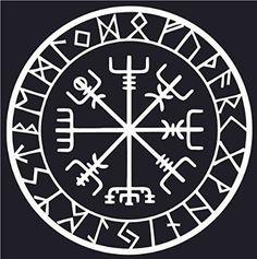 Viking Compass Asatru Rune Vegvisir Talisman Heathen Vinyl Decal Sticker Car Window Wall Macbook Notebook Laptop Sticker Decal