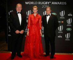 Beauden Barrett is presented the World Rugby Men's Player of the Year 2016 Award by Bill Beaumont and Princess Charlene of Monaco during the World Rugby Awards 2016 at the Hilton London Metropole Hotel on November 13, 2016 in London, England.