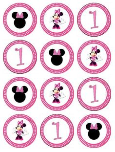 edible minnie mouse cupcake toppers images for cupcakes Mini Mouse Cupcakes, Minnie Mouse Cupcake Toppers, Minnie Mouse Birthday Decorations, Cupcake Toppers Free, Minnie Mouse 1st Birthday, Baby Birthday Cakes, Minnie Mouse Cake, Pink Minnie, Mickey Cakes