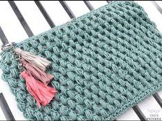 Neceser en punto garbanzo a crochet Crochet Diy, Crochet Pouch, Love Crochet, Learn To Crochet, Crochet Stitches, Crochet Bags, Crochet Hood, Purse Patterns, Knitting Patterns