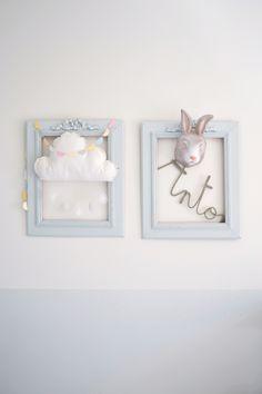 Cadre Tag Re Aux Couleurs Pastels Bois Et Blanc Avec Lapin B B Et Pastel