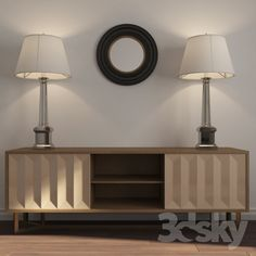 Chest of drawers, reading lamps, mirror