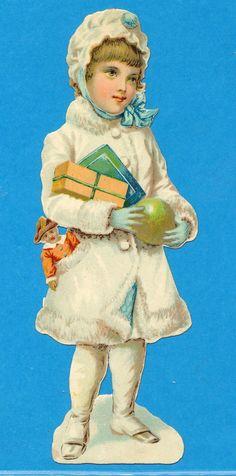 OBLATEN, VICTORIAN SCRAP, XL WINTER KIND GESCHENKE PELZ, SNOW CHILD | eBay