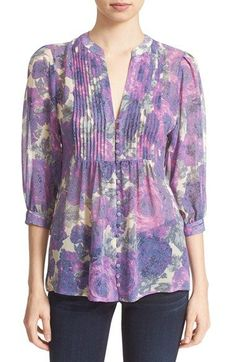 Joie 'Datev' Floral Print Silk Blouse available at Kurti Neck Designs, Dress Neck Designs, Blouse Designs, Clothing Patterns, Dress Patterns, Blouse Styles, Simple Dresses, Blouses For Women, Tunic Tops