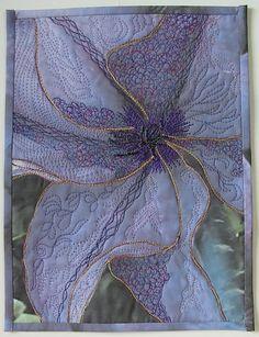 'Clematis' - by Maggi Birchenough - (textile, fabric, fiber art) Patchwork Quilting, Quilt Stitching, Applique Quilts, Art Quilting, Machine Quilting, Quilting Ideas, Fiber Art Quilts, Textile Fiber Art, Textile Artists