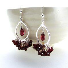 Garnet chandelier earrings garnet earrings garnet by FelisaJewelry, $130.00