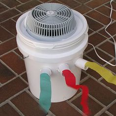 Portable Bucket Air Conditioner Adding salt and water to the ice will help it stay cooler longer by slowing its melting rate and increasing its freezing rate. One option is to fill a 2-liter bottle with roughly 6 cups of water and 1 cup of rock salt. Place the bottle into the freezer until it is frozen solid, then place it in a metal bowl in front of the fan so the circulating air passes over it. The bottle will prevent spillage, and it can be frozen again and reused.