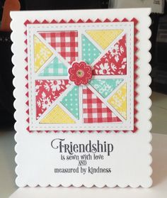 handmade Quilted Friendship Card by bhappystamper ... summer colors ... die cuts ...