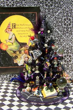 19th Day Miniatures Works in Progress: Updated! Have another look-Dollhouse Miniature Plum Victorian Witch Halloween Tree Done :)