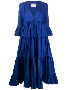 Royal blue cotton Jennifer Jane tiered dress from La Doublej featuring a v-neck, three-quarter length sleeves, an empire line silhouette and a long length. Vestidos Azul Royal, Western Dresses For Girl, Modest Fashion, Fashion Outfits, Edgy Dress, Royal Blue Dresses, Frill Dress, Fantasy Dress, Tiered Dress