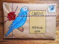 Blue parrot mailart on brown envelope #mailart #birdmailart
