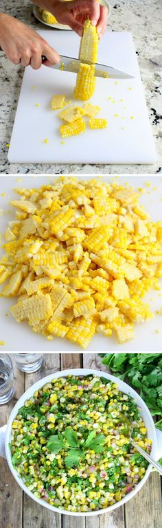 Jalapeño Cilantro Corn Salad -  with fresh corn off the cob, red onion…