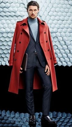 Hugo Boss Collection & more details Red Coat Outfit, Fashion Moda, Mens Fashion, Fashion Menswear, Costume Noir, Pull Gris, Top Mode, Outfits, Men's Clothing