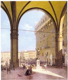 La rivoluzione del 27 aprile 1859 in Piazza della Signoria, fra 1859 e 1860. Firenze, Galleria d'Arte moderna